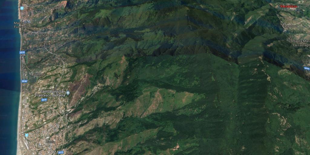 foto satellitare strada da Vaccarizzo a Paola